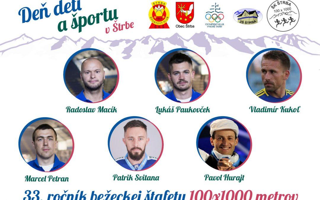 Pozvánka do Štrby na Deň detí a športu, 33. ročník štafety 100×1000 metrov a autogramiádu so športovými osobnosťami
